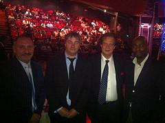 Juin 2012 - À la Halle aux Grains pour le grand retour de la boxe après 25 ans d'absence, avec mon collègue Jean Paul Makengo, l'ancien et le nouveau président de la fédération française de boxe, Guy Debuisson et Humbert Furgoni