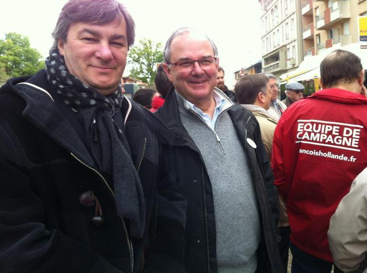 Avril 2012 -  Avec Jean-Jacques Mirassou à la Roseraie pour défendre la candidature de François Hollande