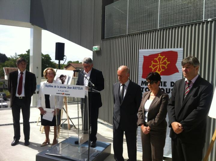 Juin 2012 -  Inauguration de la piscine Jean Boiteux au sein de l'ensemble JOB. Jean Boiteux fut champion olympique à Helsinki en 1952
