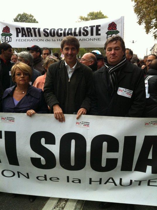 Octobre 2010 -  contre le réforme des retraites avec Jean Michel Fabre et Monique Iborra